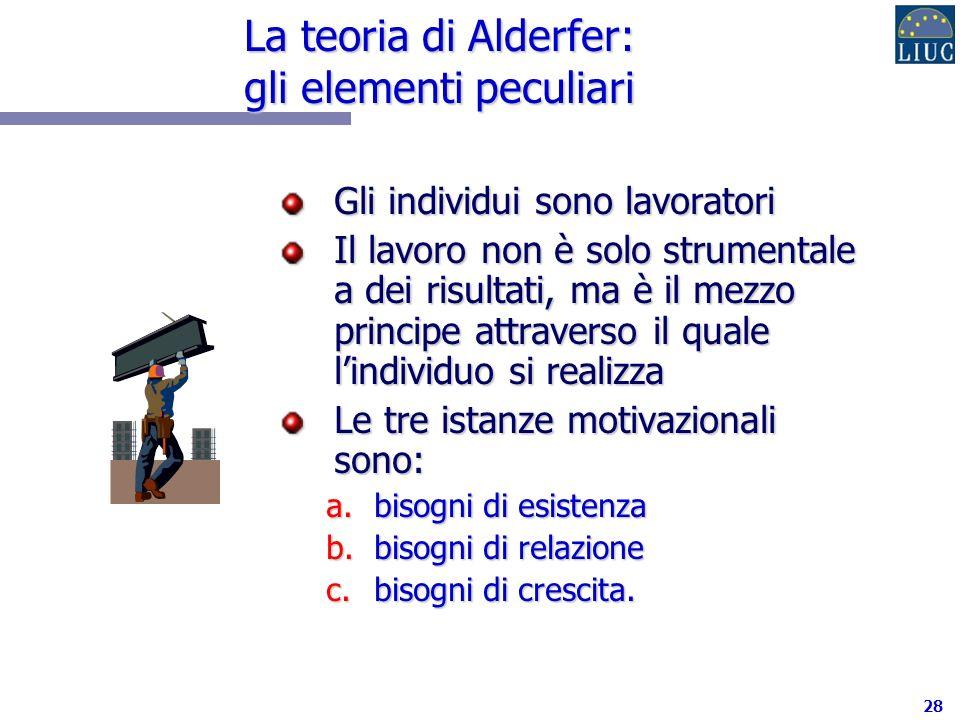 La teoria di Alderfer: gli elementi peculiari