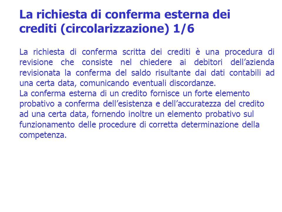 La richiesta di conferma esterna dei crediti (circolarizzazione) 1/6