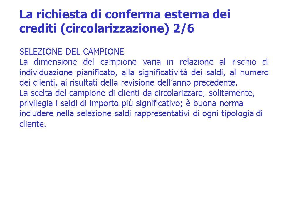 La richiesta di conferma esterna dei crediti (circolarizzazione) 2/6