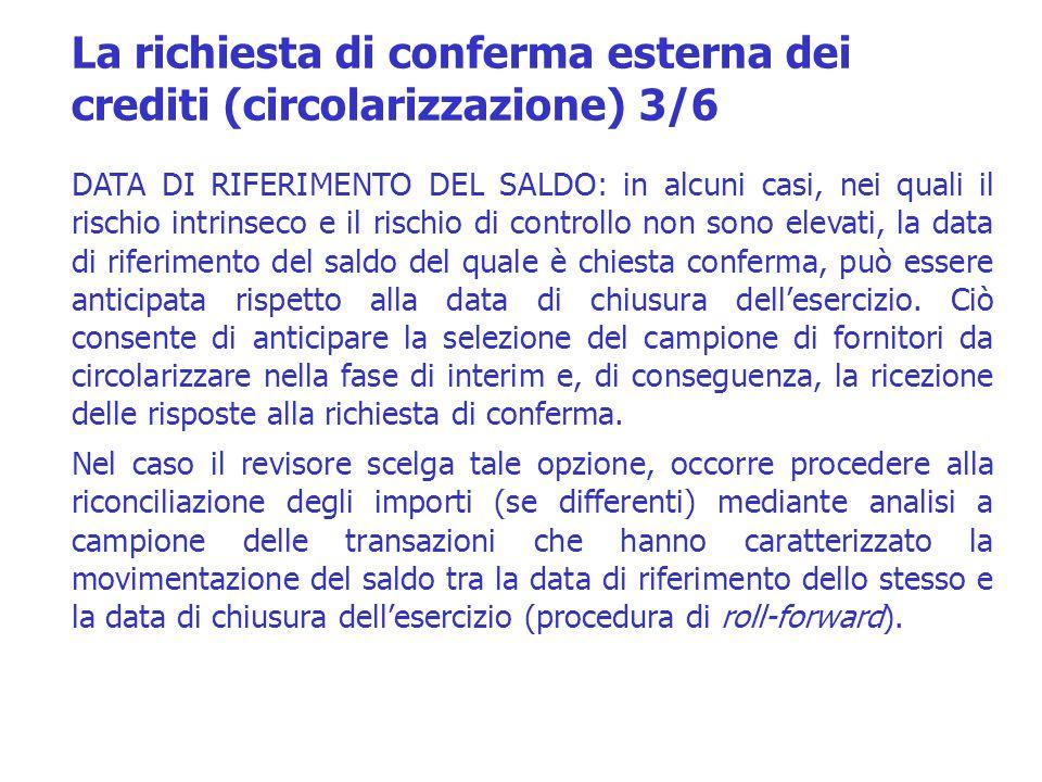 La richiesta di conferma esterna dei crediti (circolarizzazione) 3/6