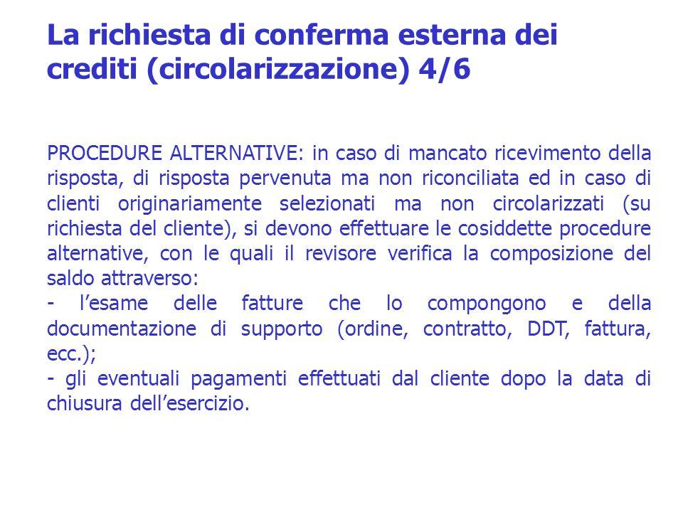 La richiesta di conferma esterna dei crediti (circolarizzazione) 4/6