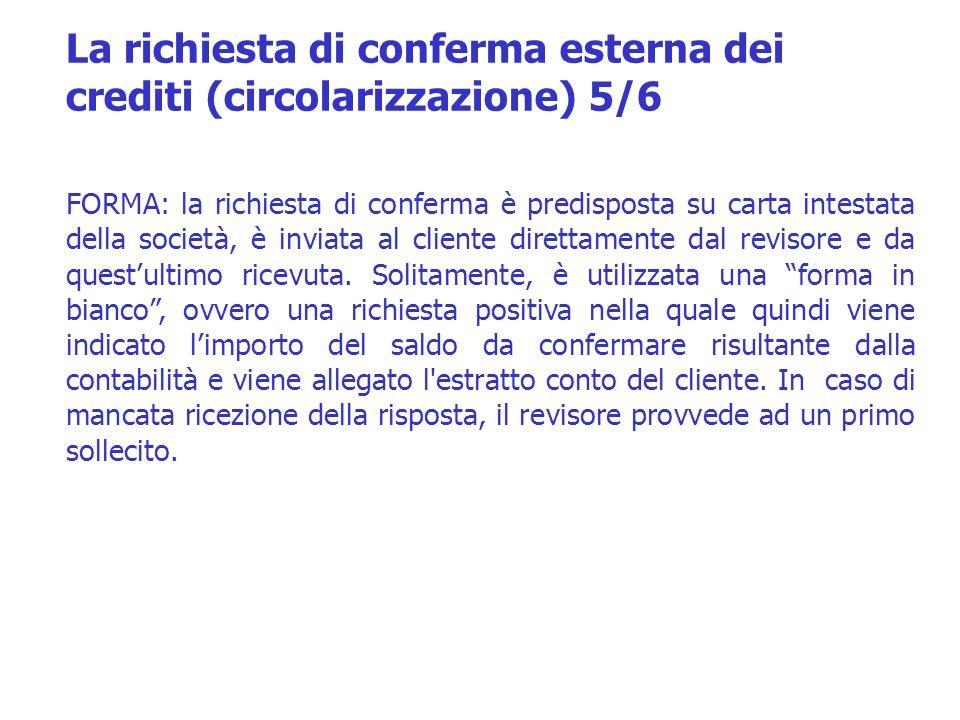 La richiesta di conferma esterna dei crediti (circolarizzazione) 5/6