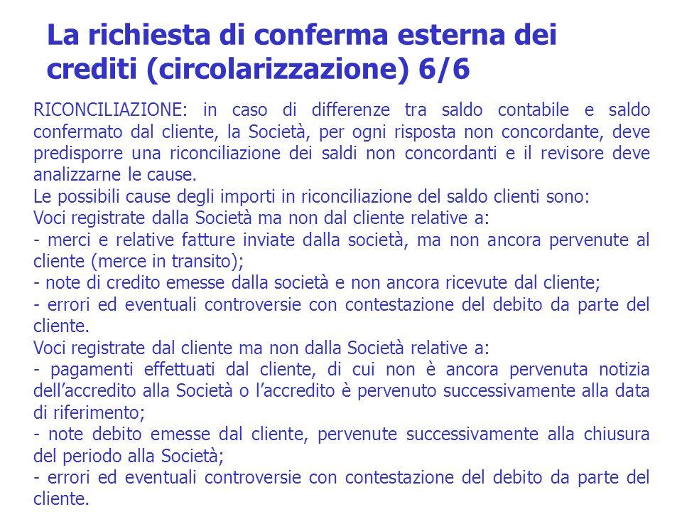 La richiesta di conferma esterna dei crediti (circolarizzazione) 6/6