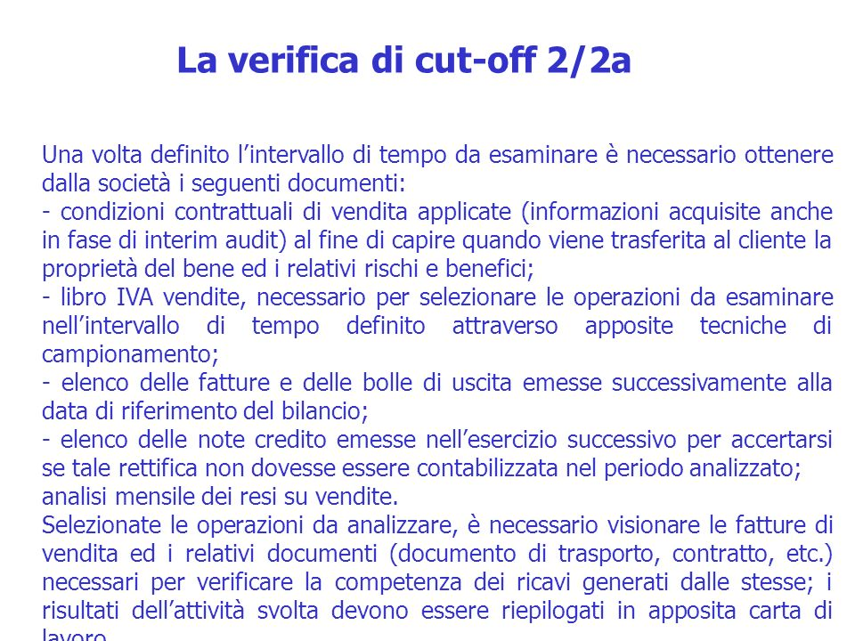 La verifica di cut-off 2/2a