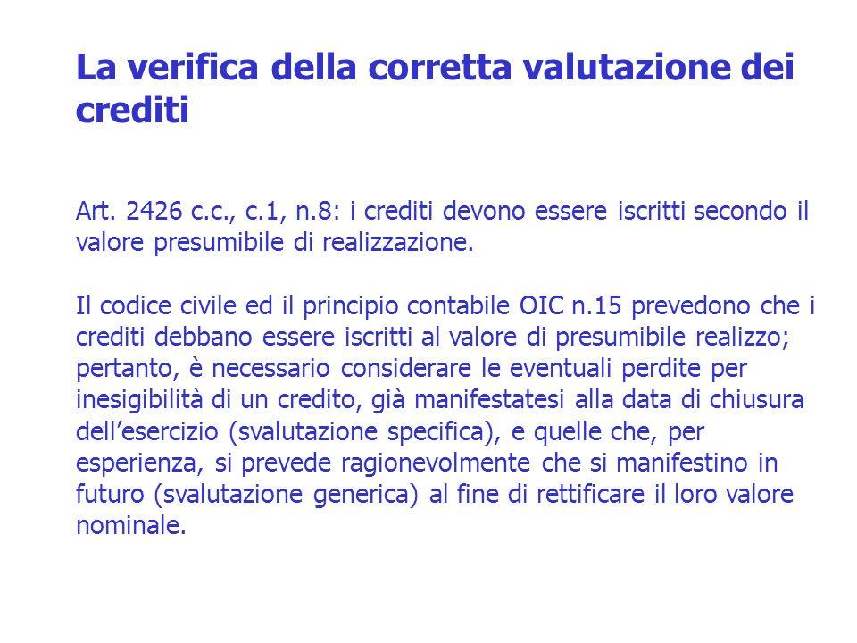 La verifica della corretta valutazione dei crediti