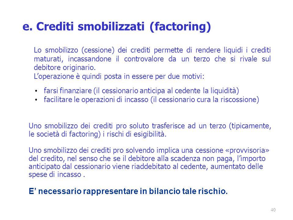 e. Crediti smobilizzati (factoring)