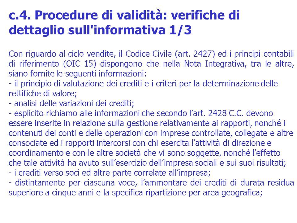 c.4. Procedure di validità: verifiche di dettaglio sull informativa 1/3