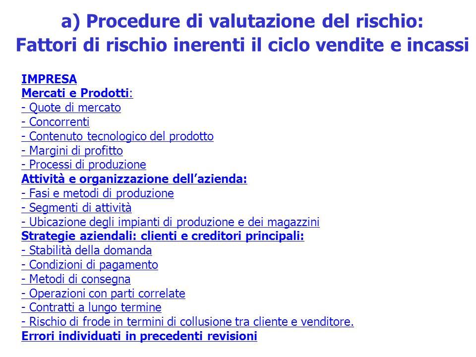 a) Procedure di valutazione del rischio: Fattori di rischio inerenti il ciclo vendite e incassi