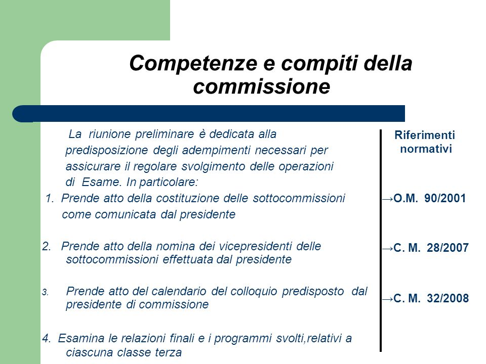 Competenze e compiti della commissione