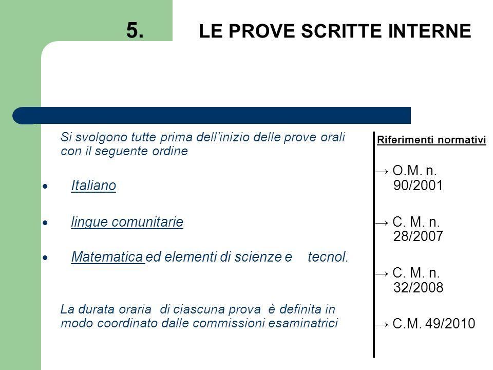 5. LE PROVE SCRITTE INTERNE