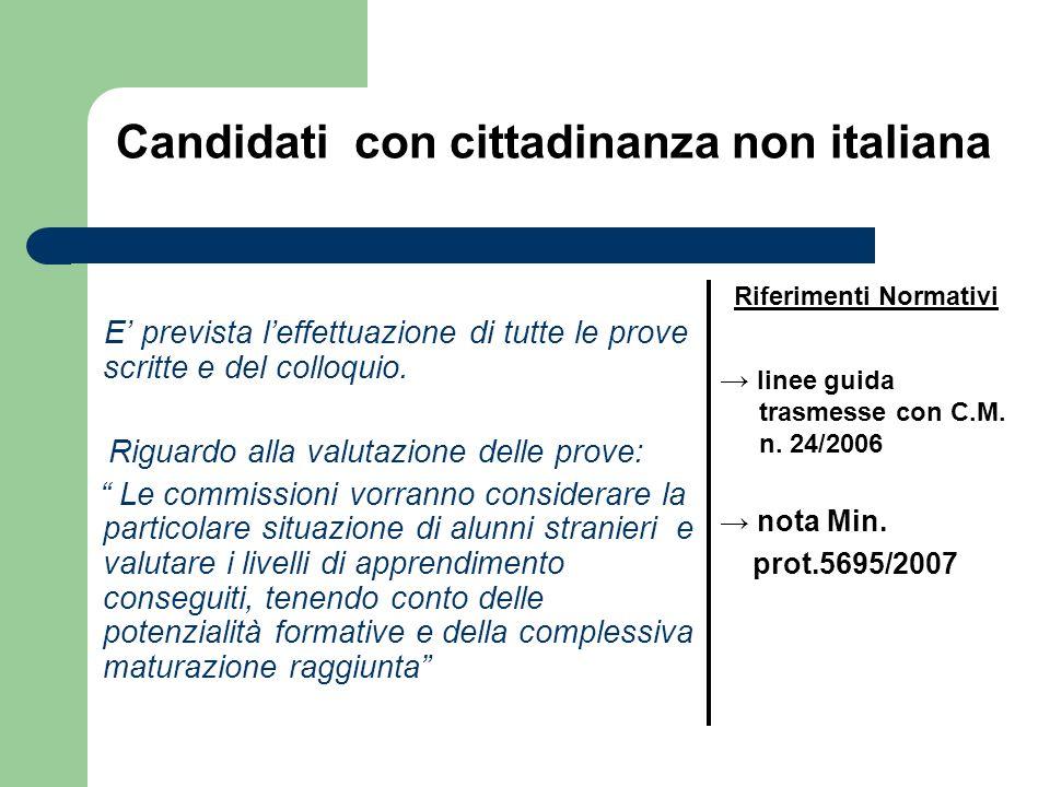 Candidati con cittadinanza non italiana