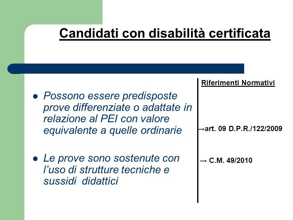 Candidati con disabilità certificata