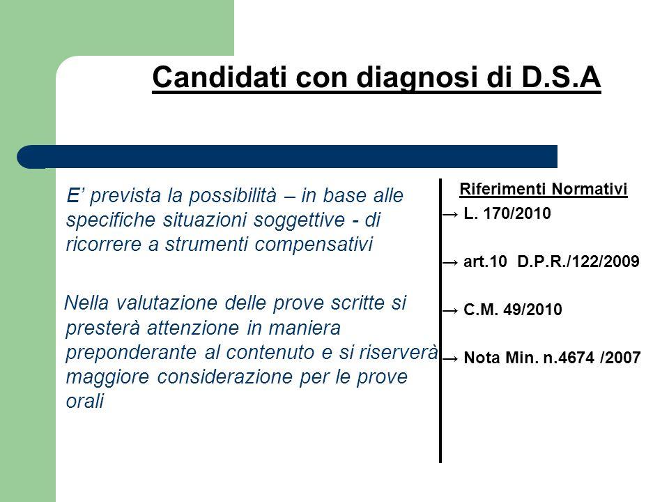Candidati con diagnosi di D.S.A
