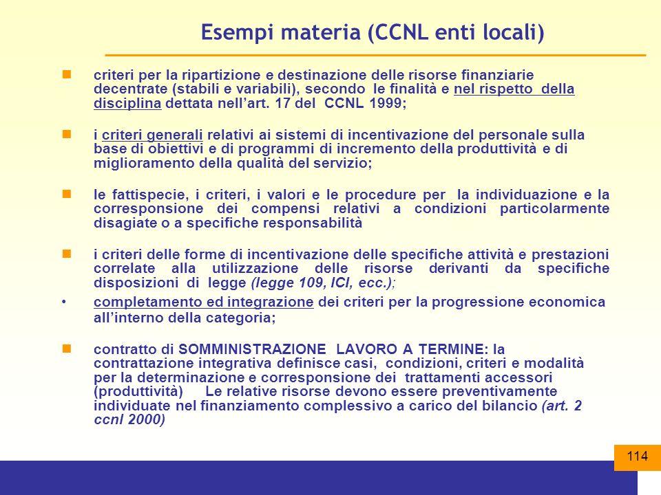 Esempi materia (CCNL enti locali)