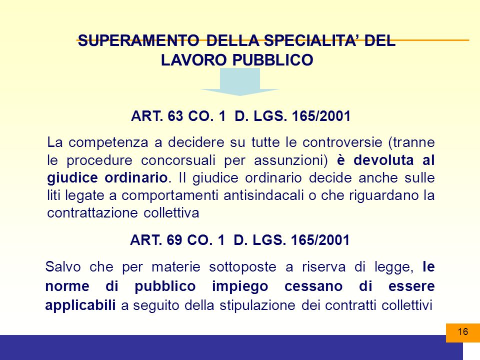 SUPERAMENTO DELLA SPECIALITA' DEL LAVORO PUBBLICO