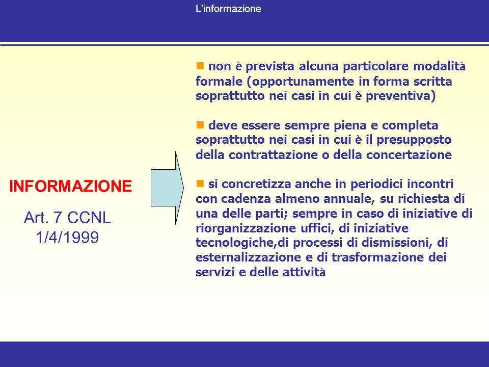 INFORMAZIONE Art. 7 CCNL 1/4/1999