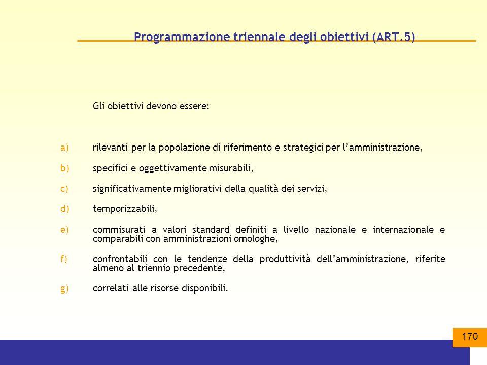 Programmazione triennale degli obiettivi (ART.5)