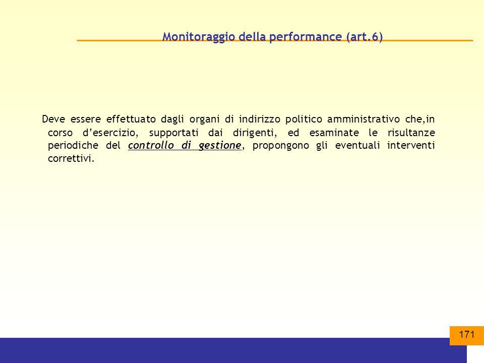 Monitoraggio della performance (art.6)