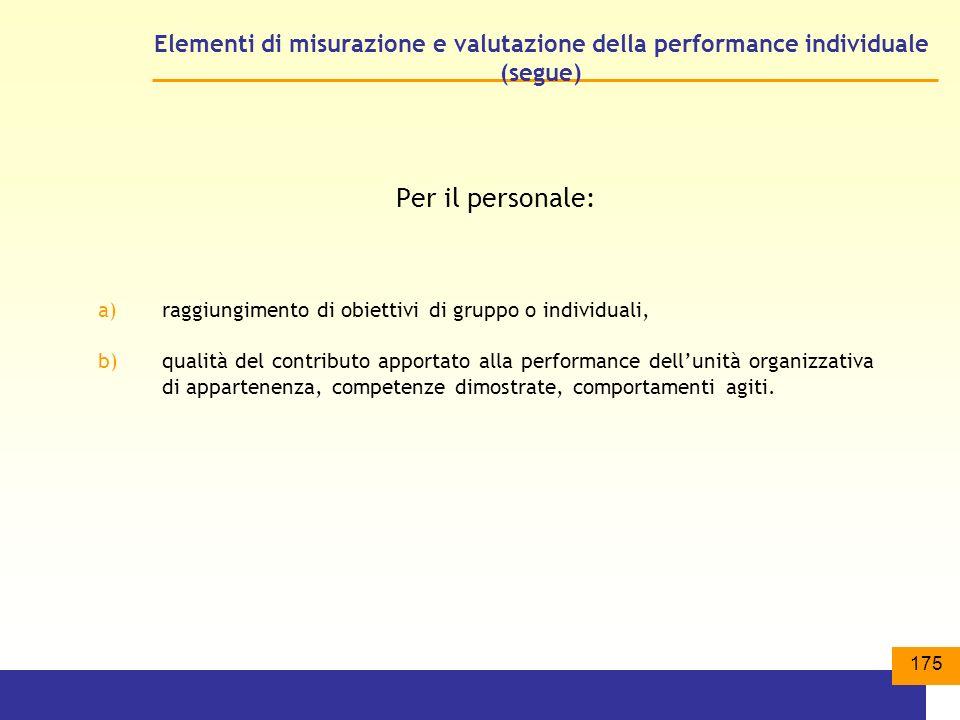 Elementi di misurazione e valutazione della performance individuale (segue)