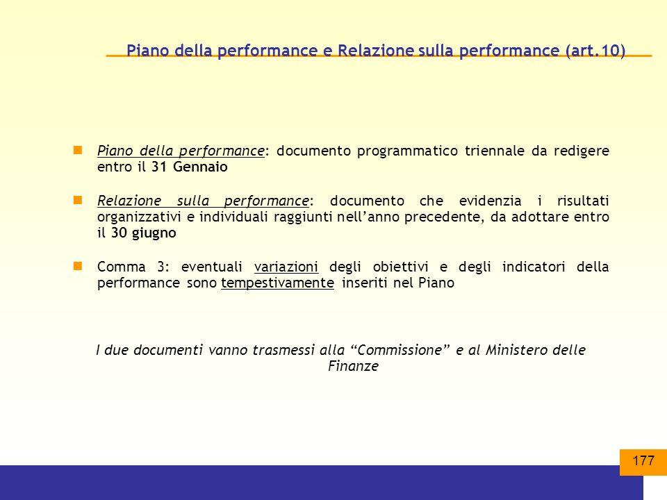 Piano della performance e Relazione sulla performance (art.10)