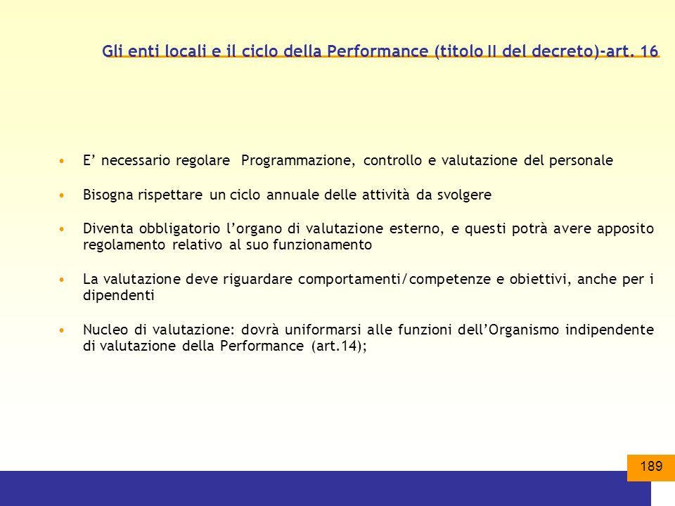 Gli enti locali e il ciclo della Performance (titolo II del decreto)-art. 16