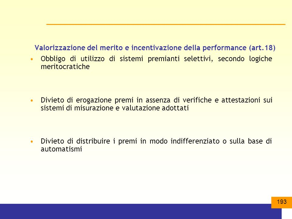 Valorizzazione del merito e incentivazione della performance (art.18)