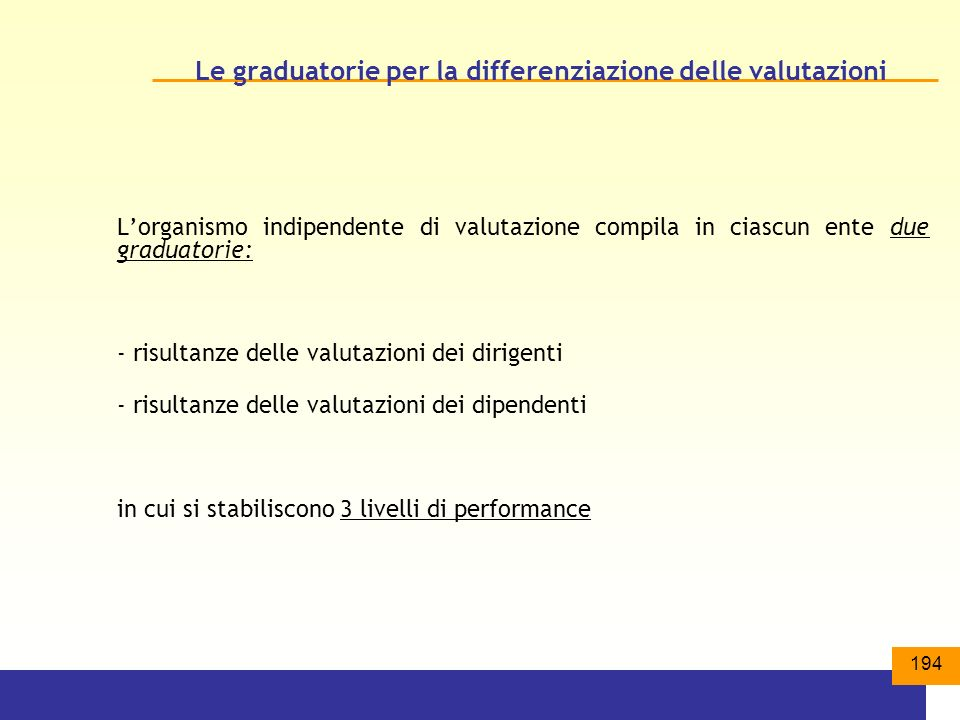 Le graduatorie per la differenziazione delle valutazioni