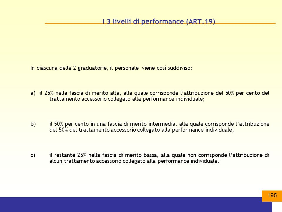 I 3 livelli di performance (ART.19)