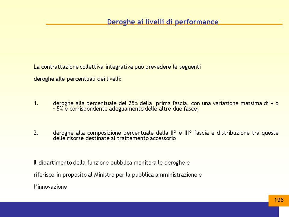 Deroghe ai livelli di performance