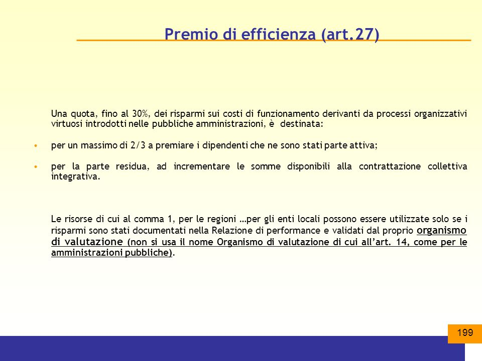 Premio di efficienza (art.27)