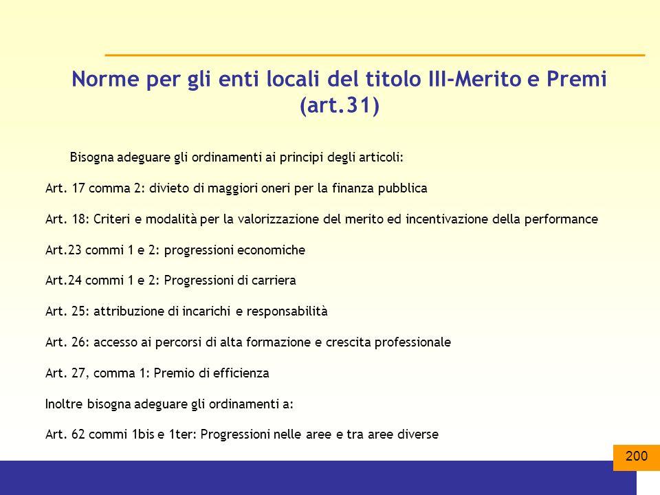 Norme per gli enti locali del titolo III-Merito e Premi (art.31)