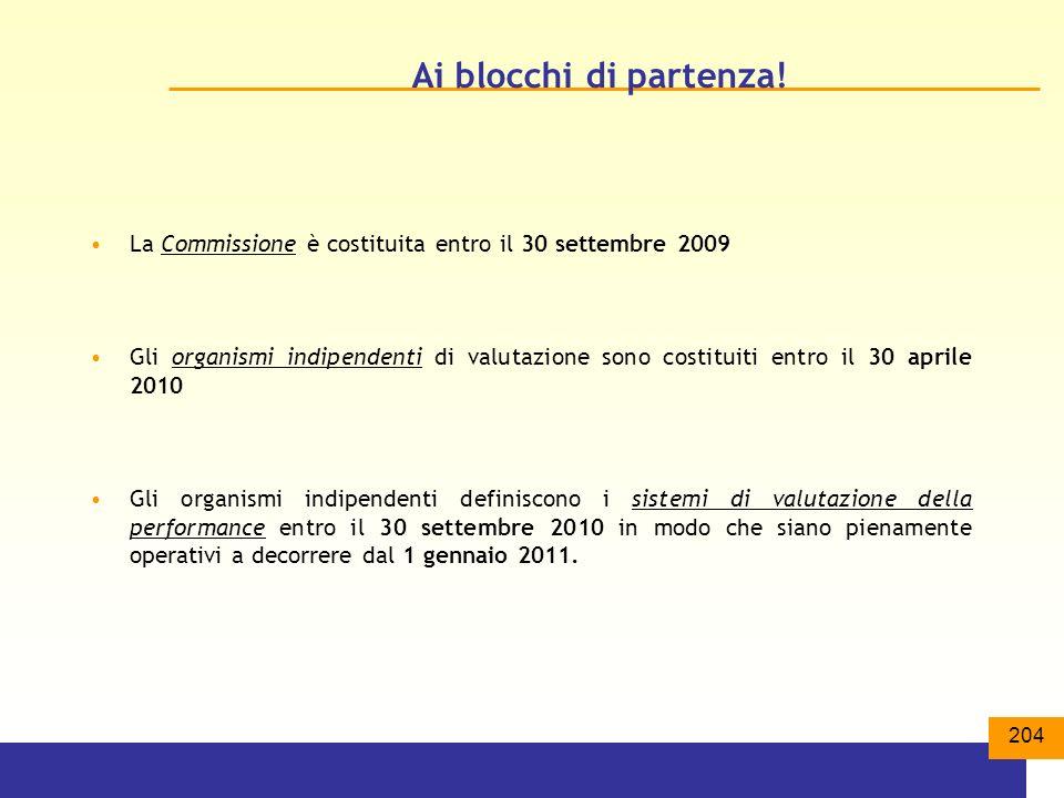 Ai blocchi di partenza! La Commissione è costituita entro il 30 settembre 2009.