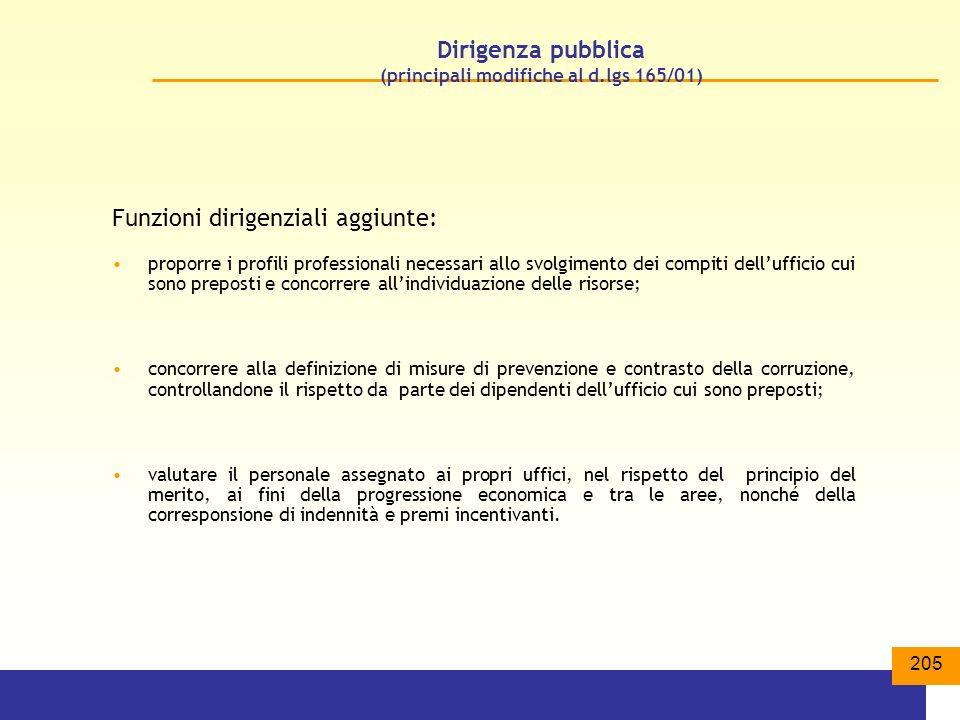 Dirigenza pubblica (principali modifiche al d.lgs 165/01)