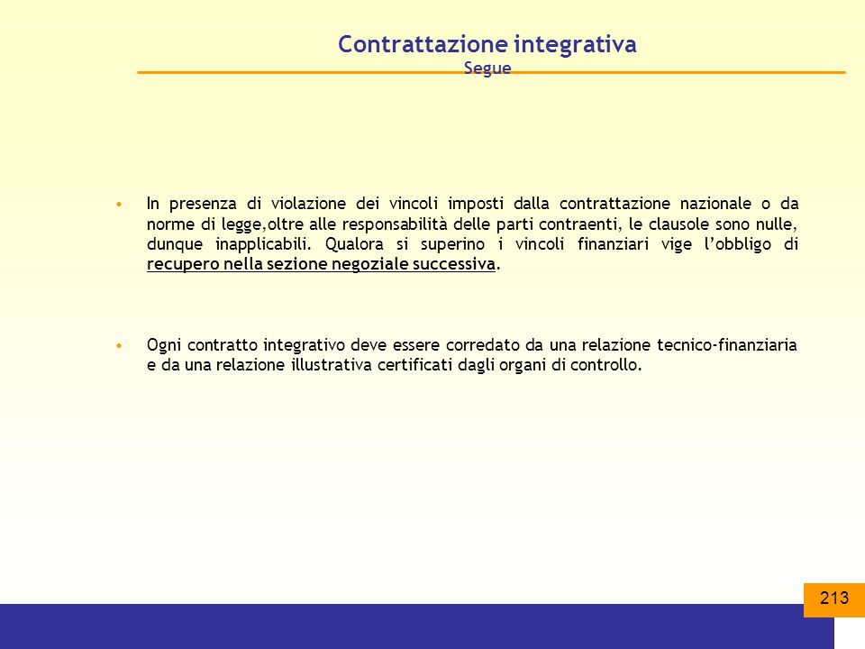 Contrattazione integrativa Segue