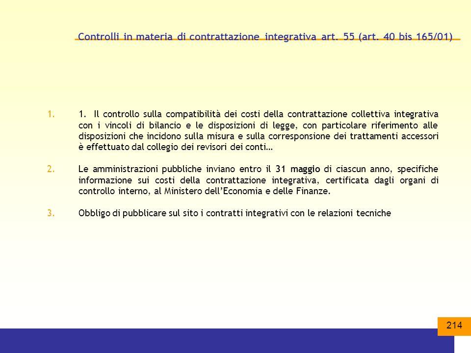 Controlli in materia di contrattazione integrativa art. 55 (art