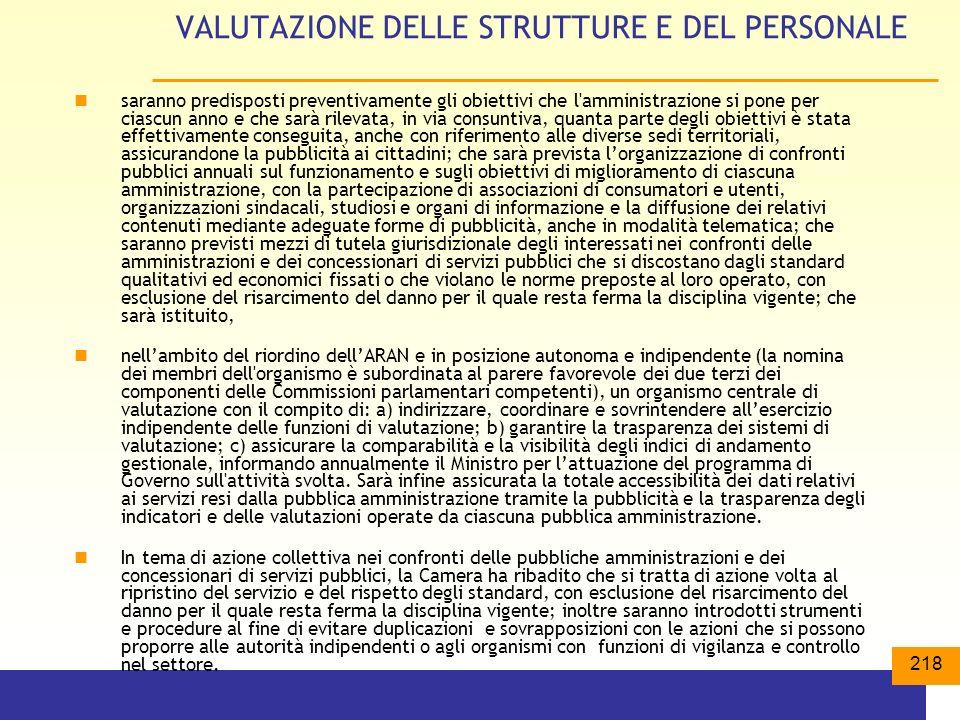 VALUTAZIONE DELLE STRUTTURE E DEL PERSONALE