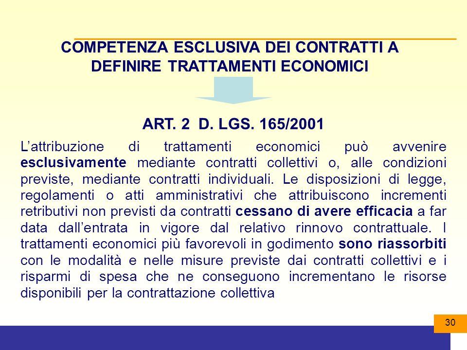 COMPETENZA ESCLUSIVA DEI CONTRATTI A DEFINIRE TRATTAMENTI ECONOMICI