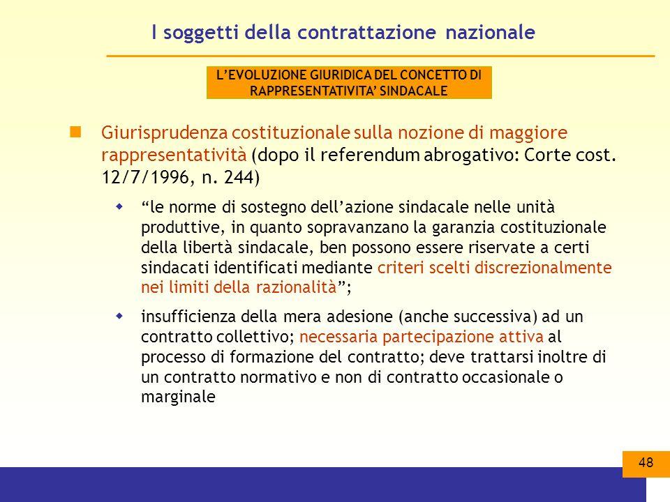 I soggetti della contrattazione nazionale