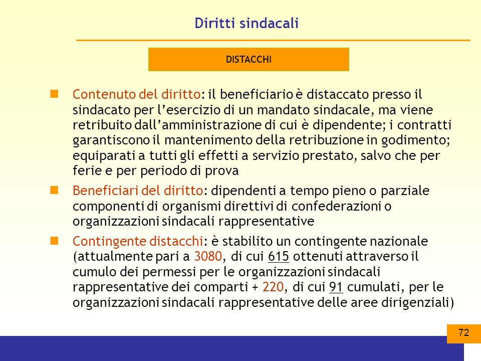 Diritti sindacali DISTACCHI.