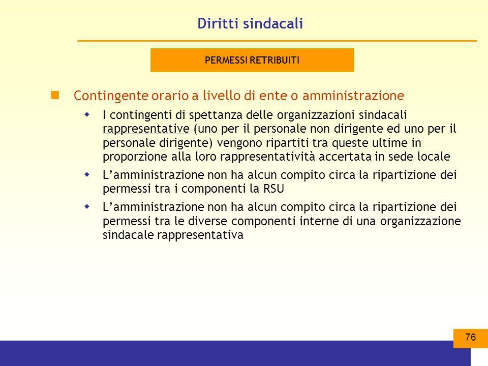 Diritti sindacali PERMESSI RETRIBUITI. Contingente orario a livello di ente o amministrazione.