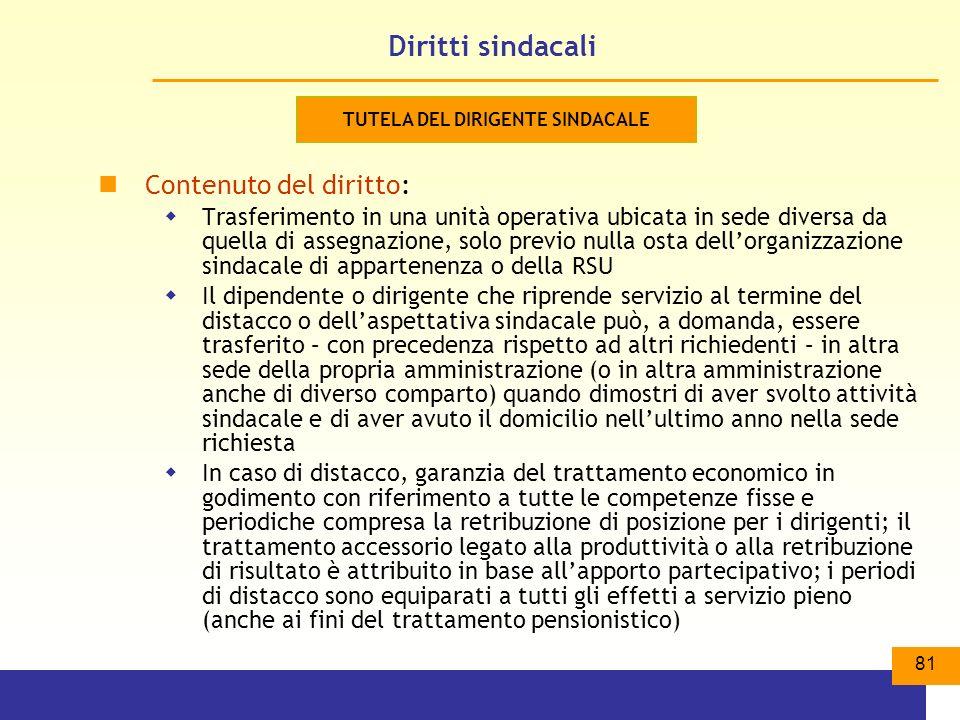 TUTELA DEL DIRIGENTE SINDACALE