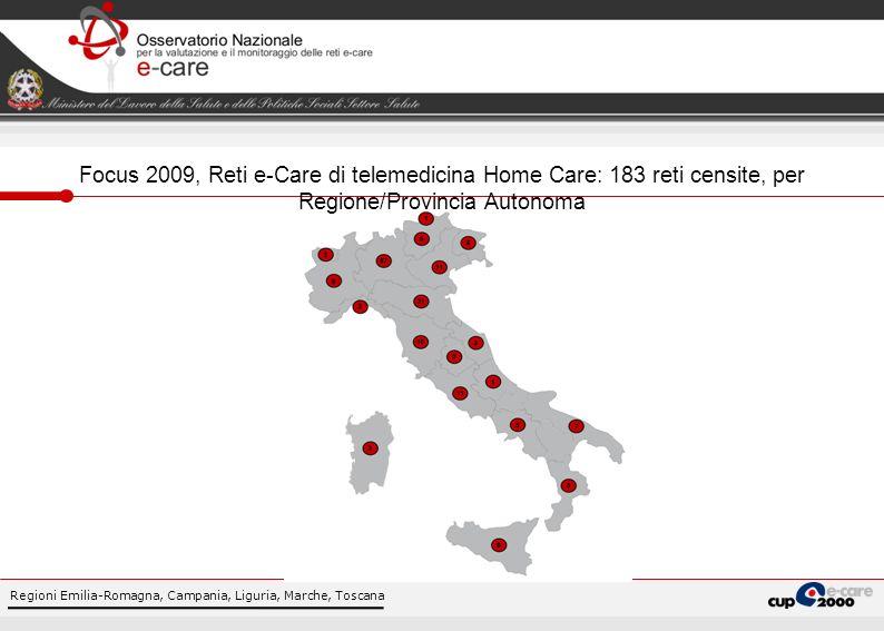 Focus 2009, Reti e-Care di telemedicina Home Care: 183 reti censite, per Regione/Provincia Autonoma