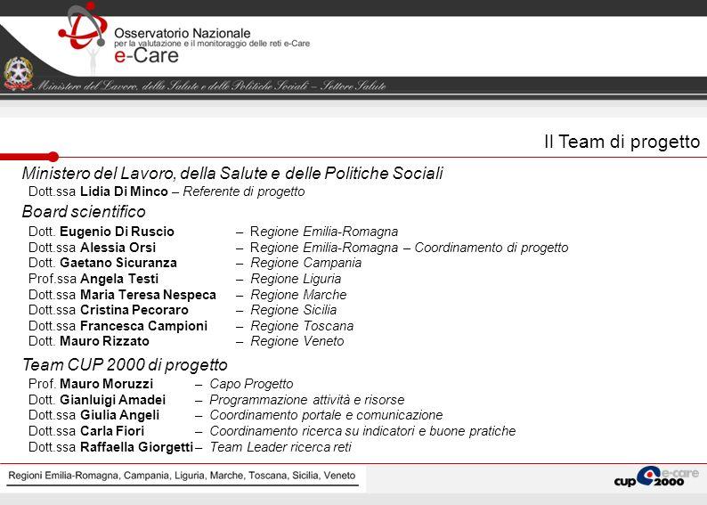 Il Team di progetto Ministero del Lavoro, della Salute e delle Politiche Sociali. Dott.ssa Lidia Di Minco – Referente di progetto.