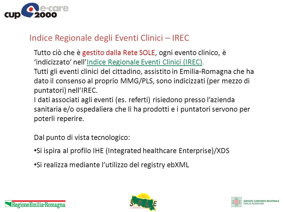 Indice Regionale degli Eventi Clinici – IREC