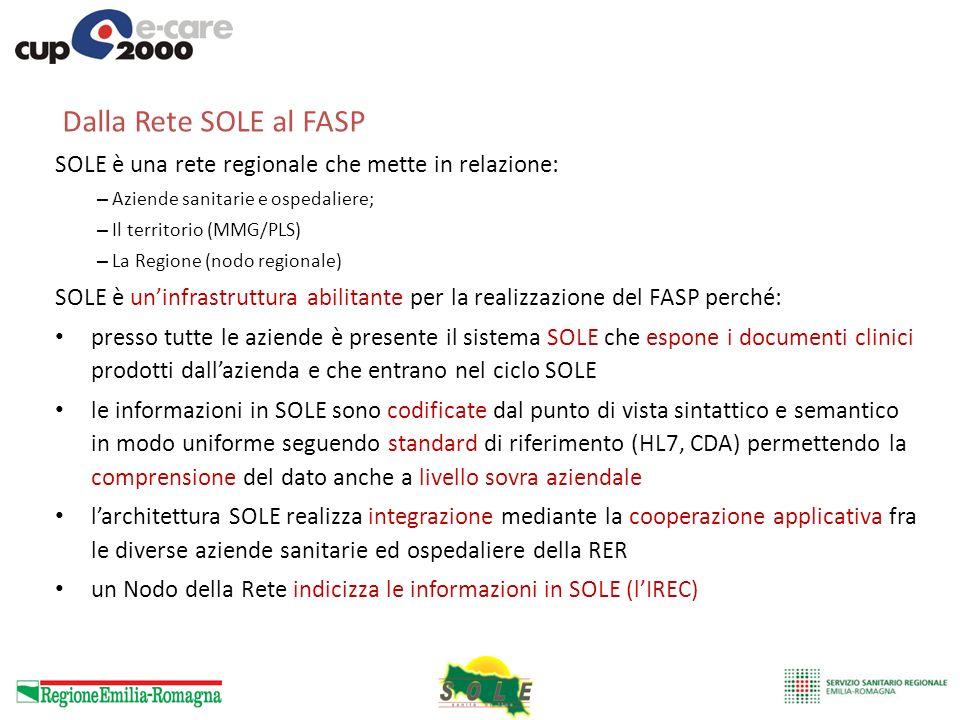 Dalla Rete SOLE al FASPSOLE è una rete regionale che mette in relazione: Aziende sanitarie e ospedaliere;