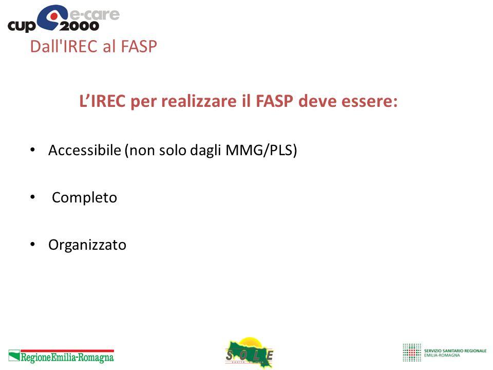 Dall IREC al FASP L'IREC per realizzare il FASP deve essere: