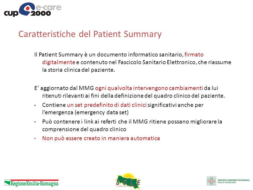 Caratteristiche del Patient Summary