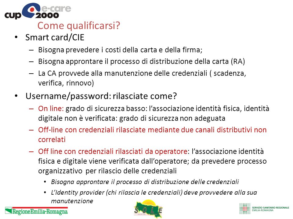 Come qualificarsi Smart card/CIE Username/password: rilasciate come