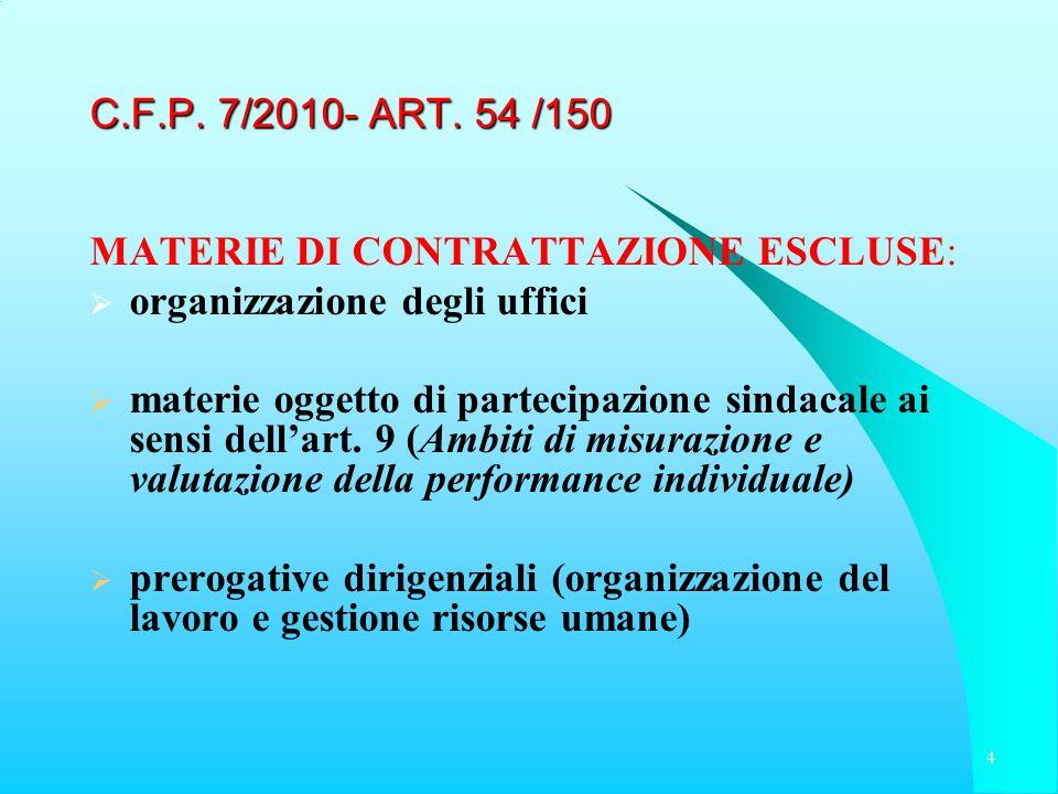 C.F.P. 7/2010- ART. 54 /150 MATERIE DI CONTRATTAZIONE ESCLUSE: organizzazione degli uffici.