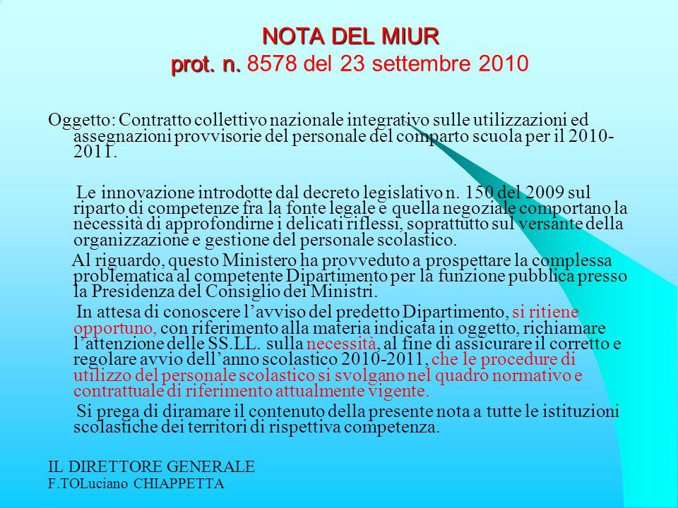 NOTA DEL MIUR prot. n. 8578 del 23 settembre 2010